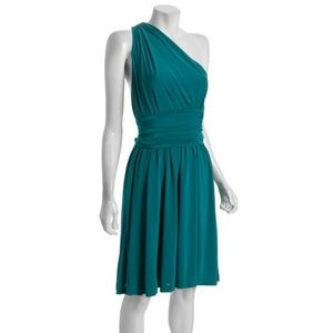 Halston Heritage One Shoulder Dress w/Sash 8 NWT